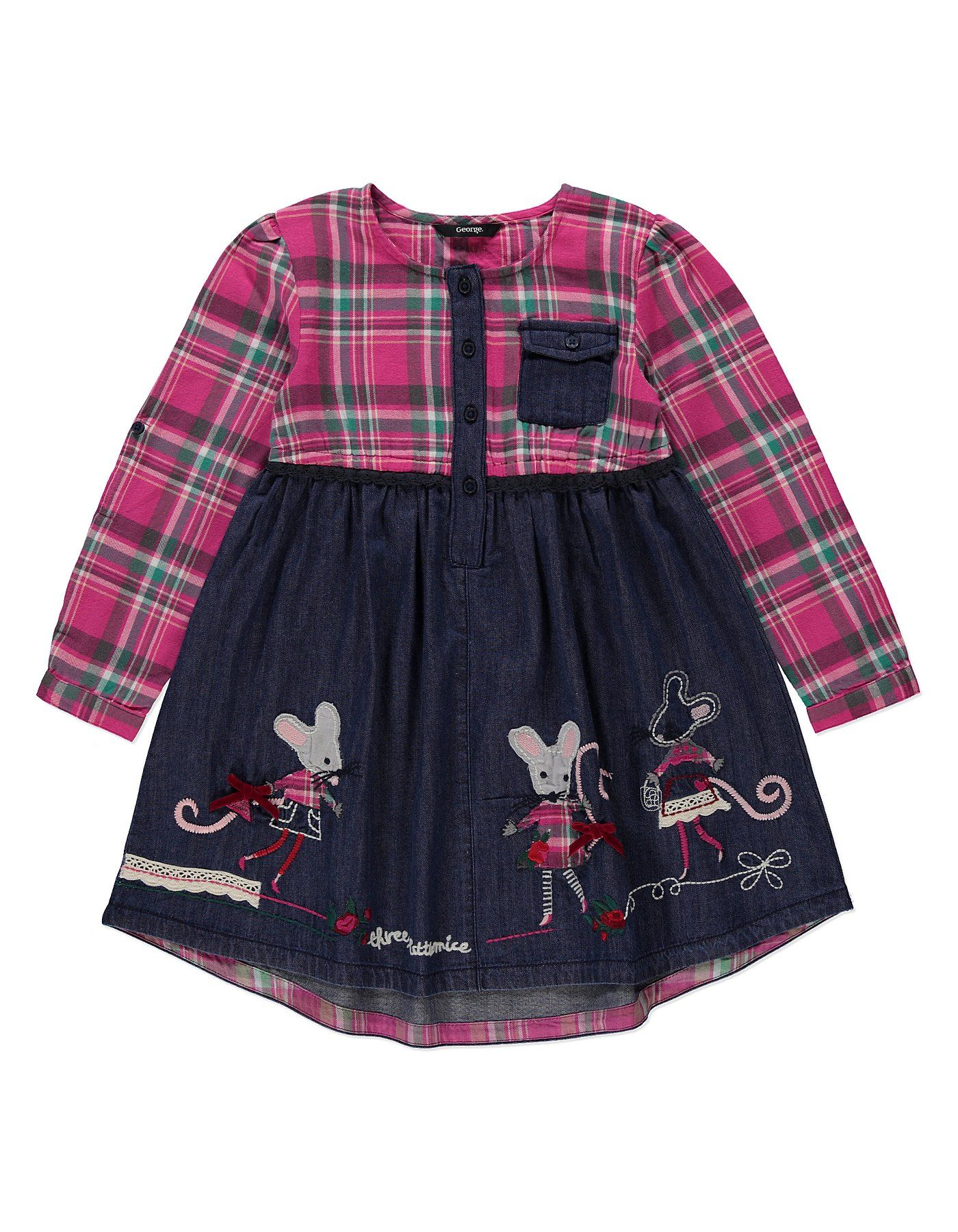 Tartan Denim Dress | Kids | George at ASDA