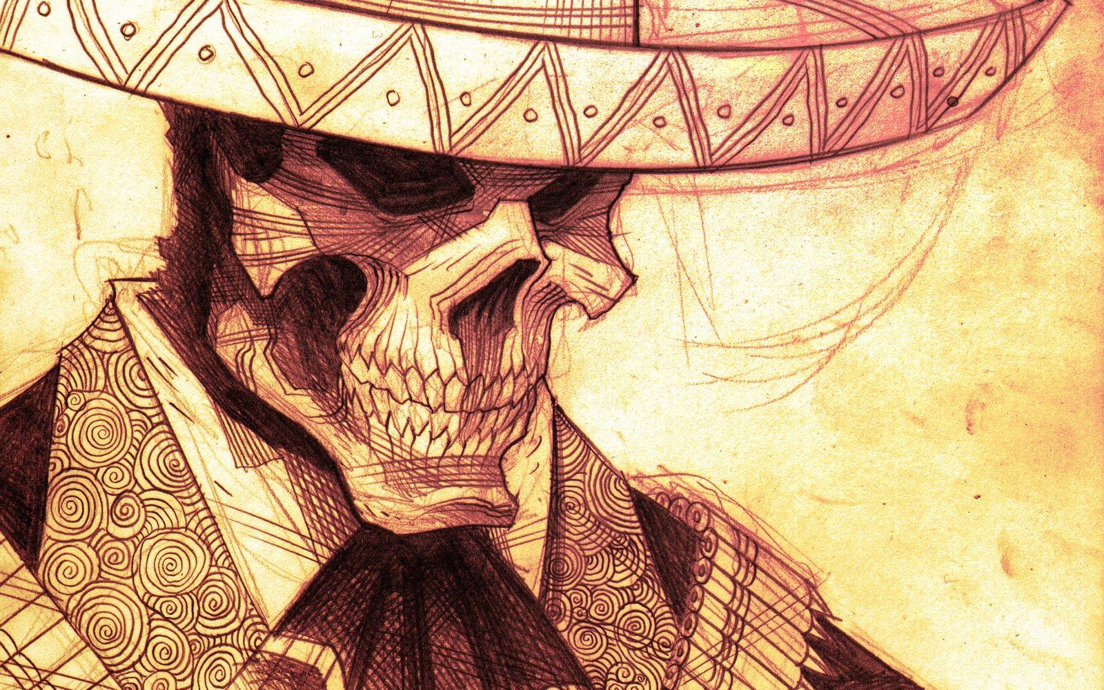 Mariachi Dia Del Muerto Tatuajes De Calaveras Mexicanas Bocetos Ilustracion De Calavera