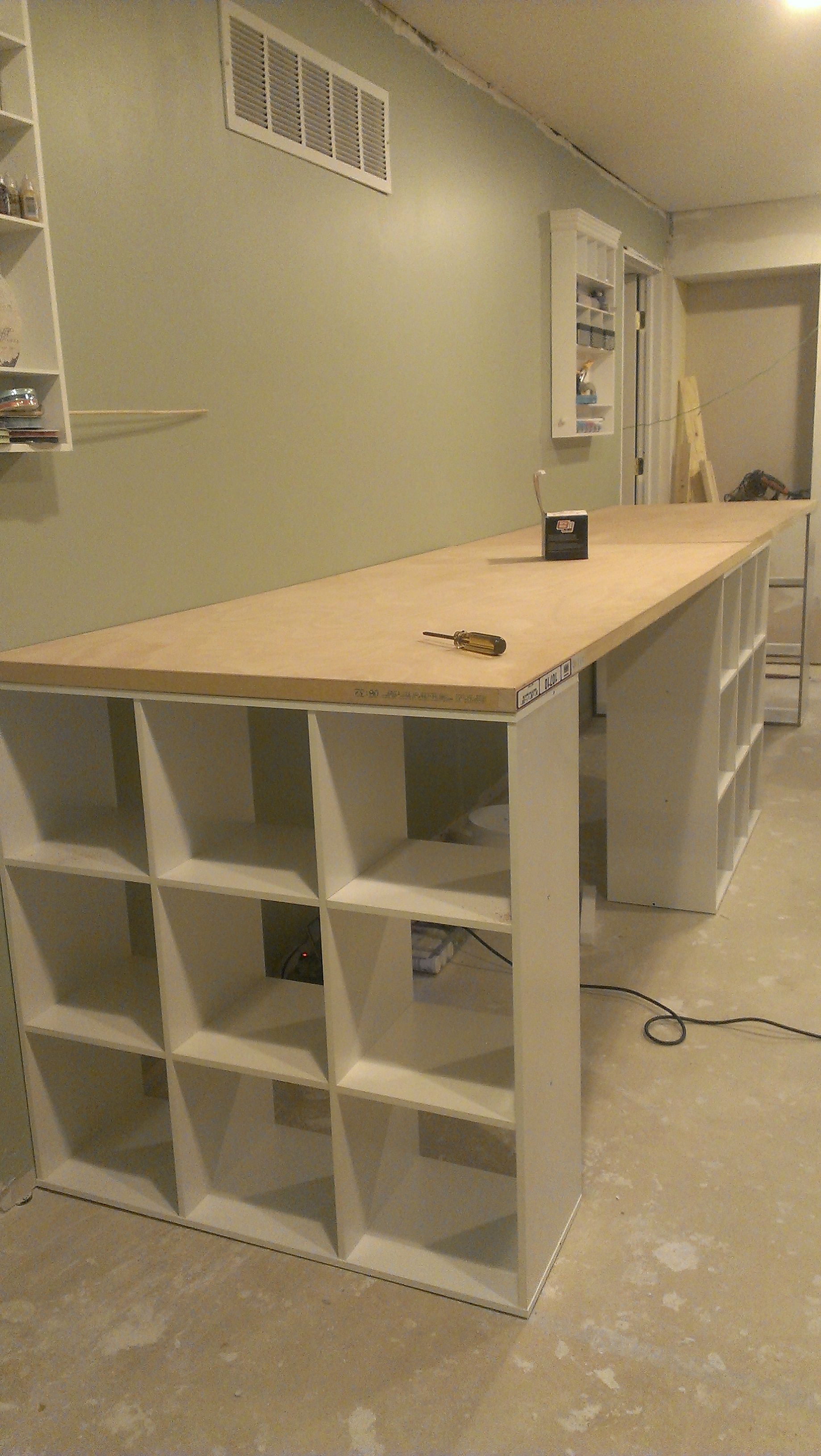 Massive craft table. I will def extend my current bench when I ...