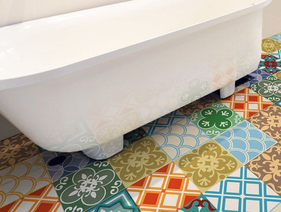 Floor Tile Decals SET Of 15 With Moroccan Decor, Floor Decal Vinyl Stickers,tile  Stickers,bathroom Tile,floor Tiles,wall Stickers