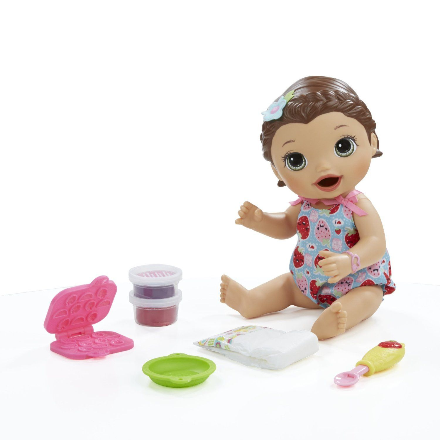Baby Alive Interactive Talking Baby Doll Super Snacks Lily Brunette Baby Dolls
