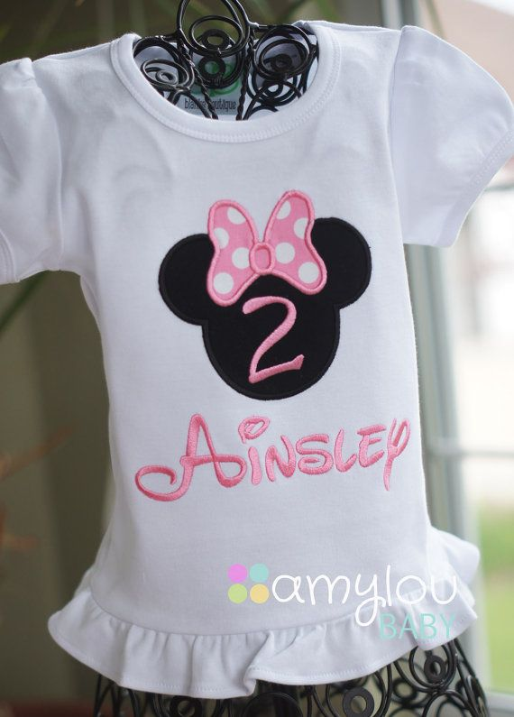 e45045f5 Light Pink Personalized Minnie Mouse Birthday Shirt - ANY NUMBER - Pink or  Red - Child - Vacation - Toddler Tee