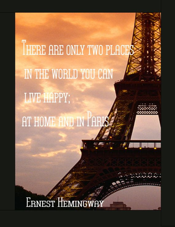Eiffel Tower with Hemingway Quote Digital by ...