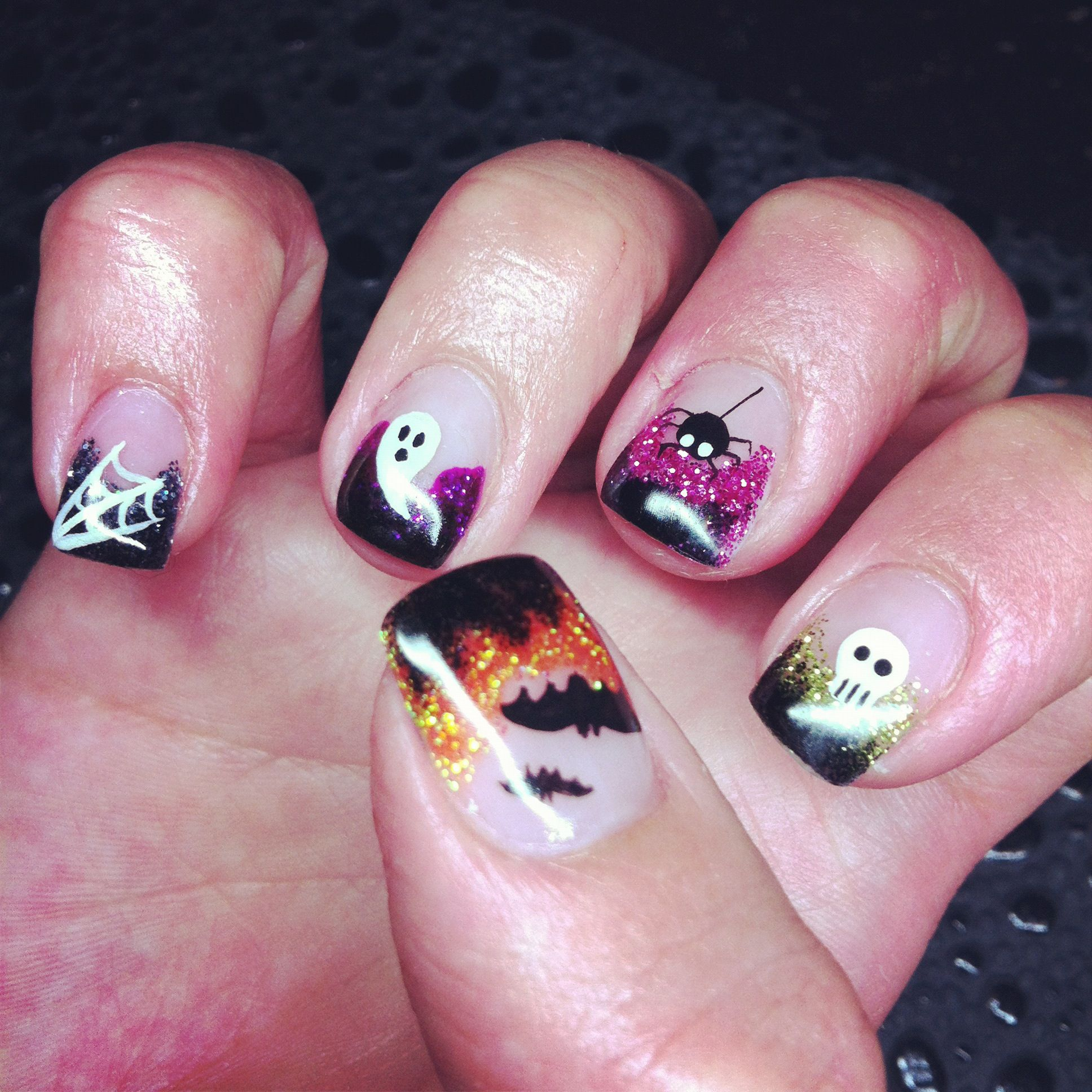 colorful halloween gel nails