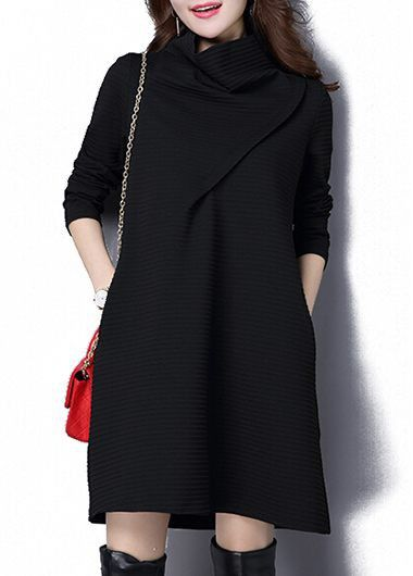 Black Turtleneck Long Sleeve Straight Dress on sale only US$34.42 now, buy cheap Black Turtleneck Long Sleeve Straight Dress at lulugal.com