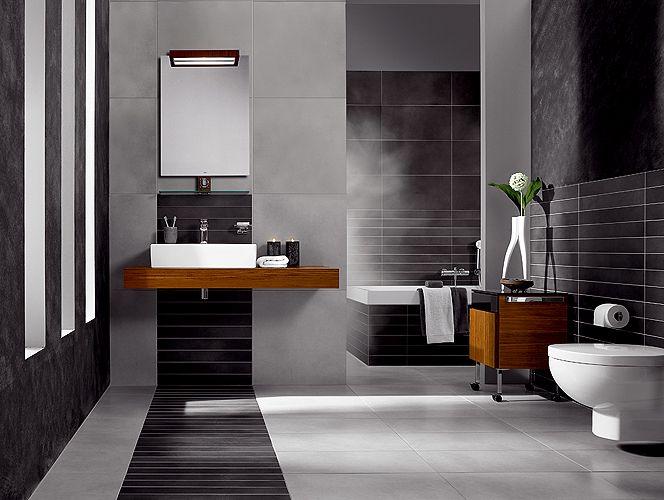 Belle d coration salle de bain moderne bande carrelage noir home staging ho - Salle de bain moderne noir et blanc ...