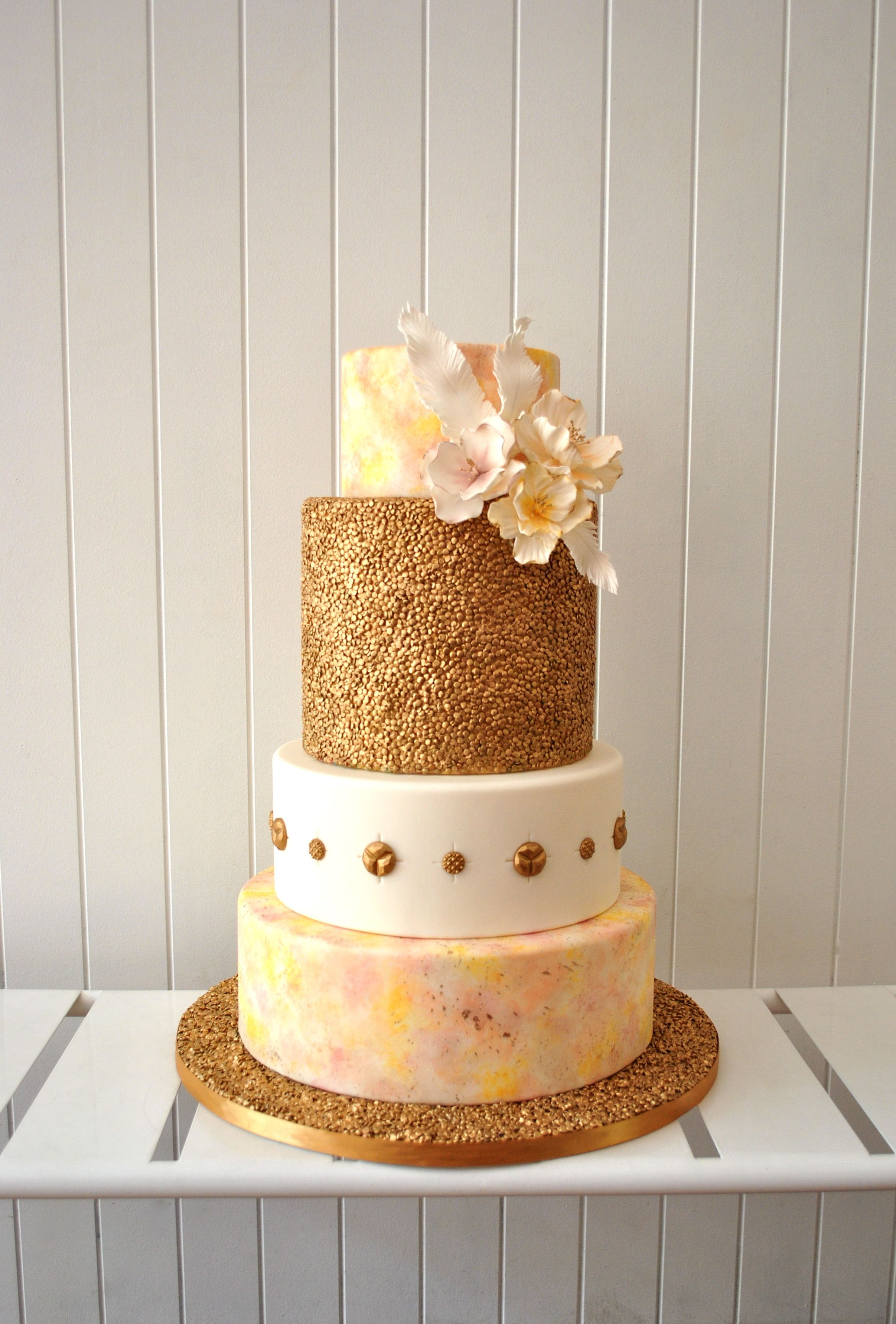 Fancy Birthday Cake Bling Gold sequins Watercolour Pastels