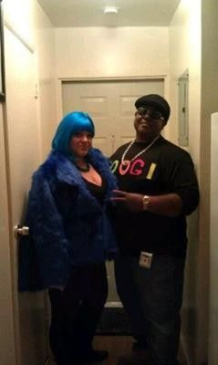 For Halloween we went as the Notorious B.I.G and Lil Kim the Queen Bee! Lil Kim's costume was inspired from the crush on you video. I bought blue furr...