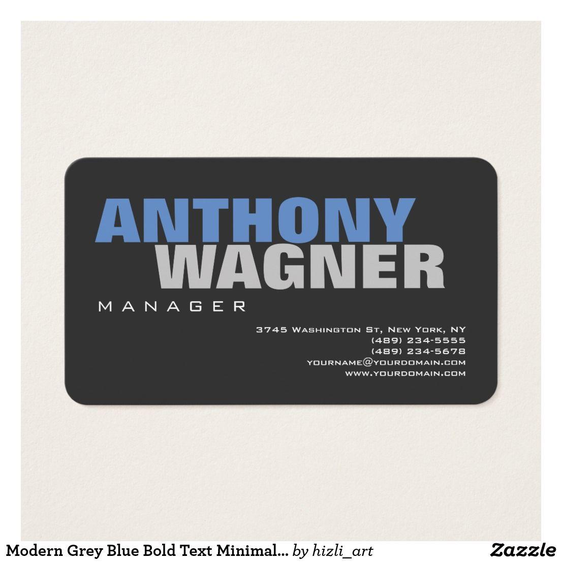 Modern grey blue bold text minimalist elegant business card reheart Gallery