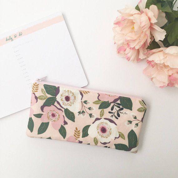 Pink Floral Pencil Zipper Pouch Zipper Pouch Make Up Bag Etsy Zipper Pouch Mini Emergency Kit Makeup Bag