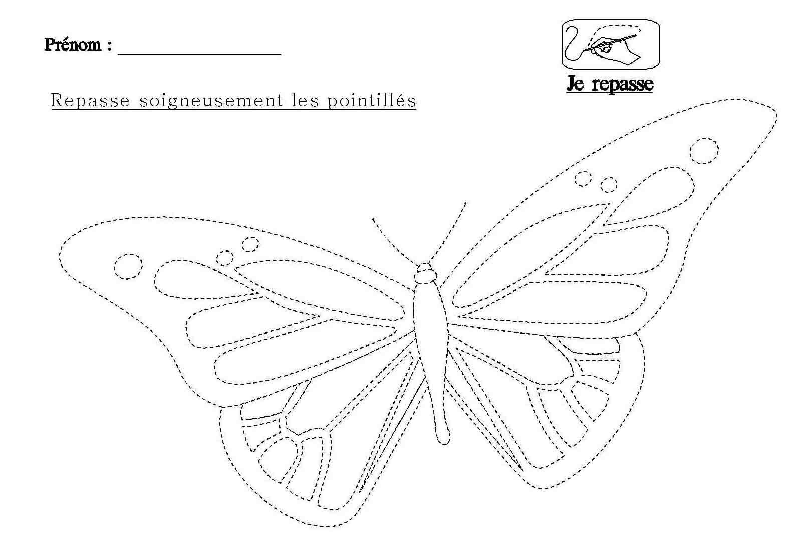 Graphisme Repasser Les Pointilla C S Du Papillon Papillon Chenille Papillon Graphisme