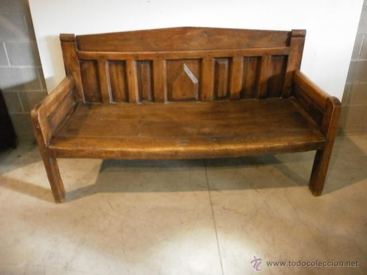 Antiguo banco esca o r stico madera de pino con for Muebles siglo xviii