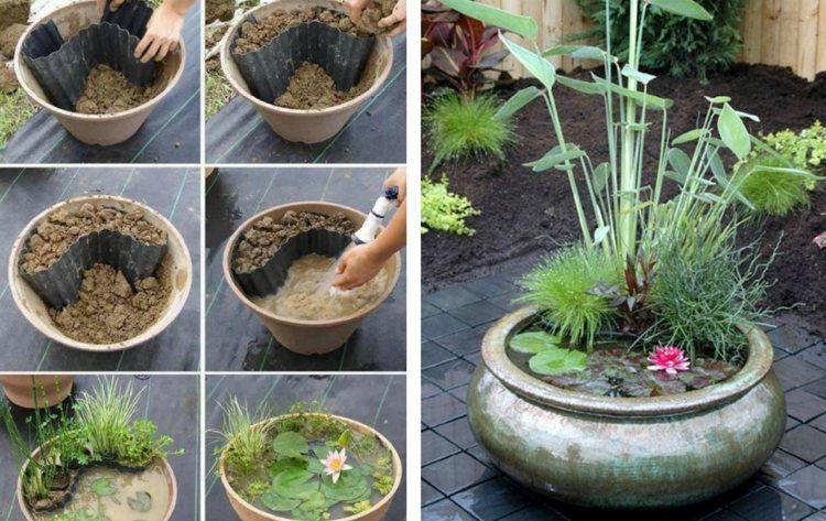ein selbstgemachter mini teich mini water garden in a pot growing plants pinterest. Black Bedroom Furniture Sets. Home Design Ideas