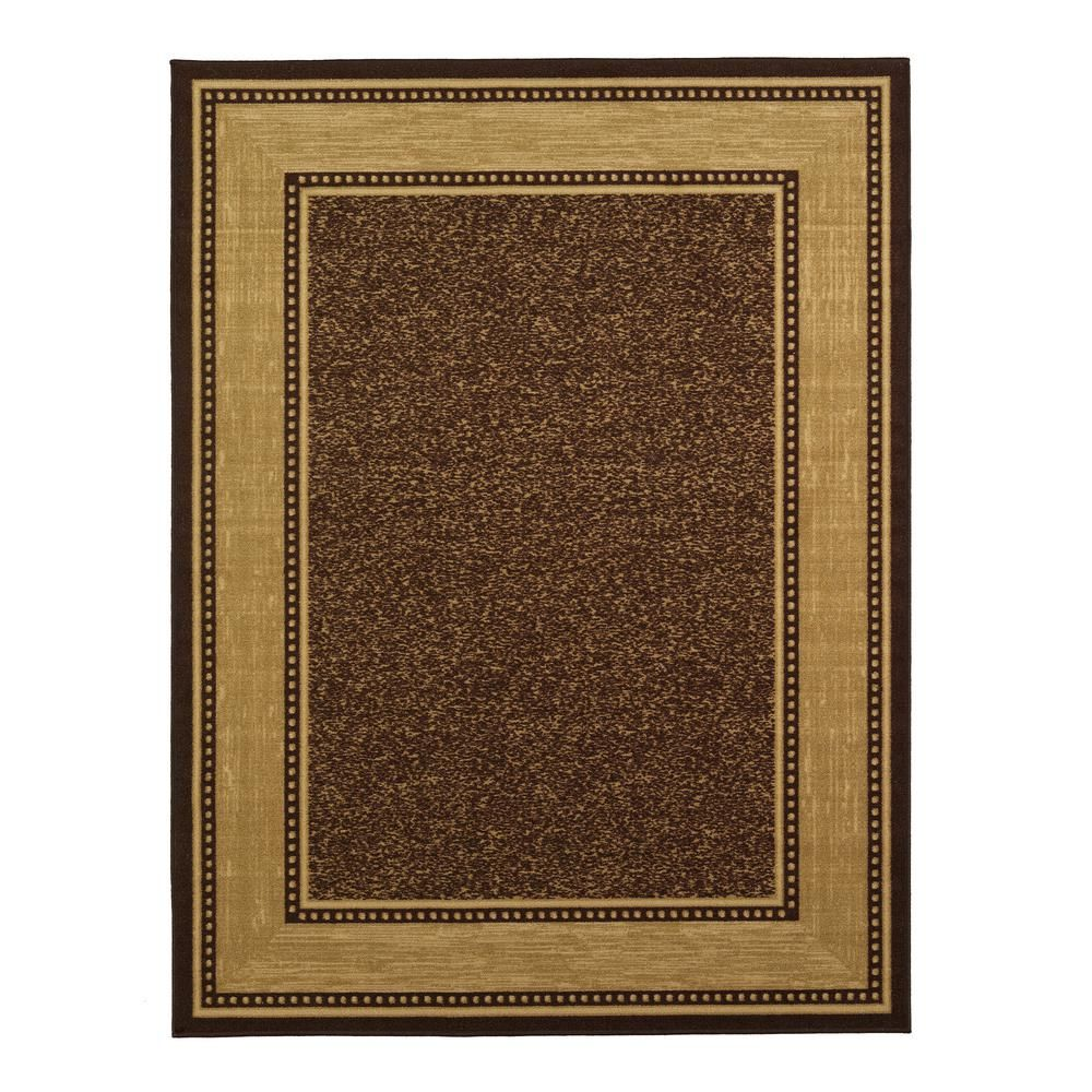 Ottomanson Contemporary Bordered Design Brown 8 Ft 2 In X 9 10 Non Skid Area Rug Oth2208 8x10 The Home Depot