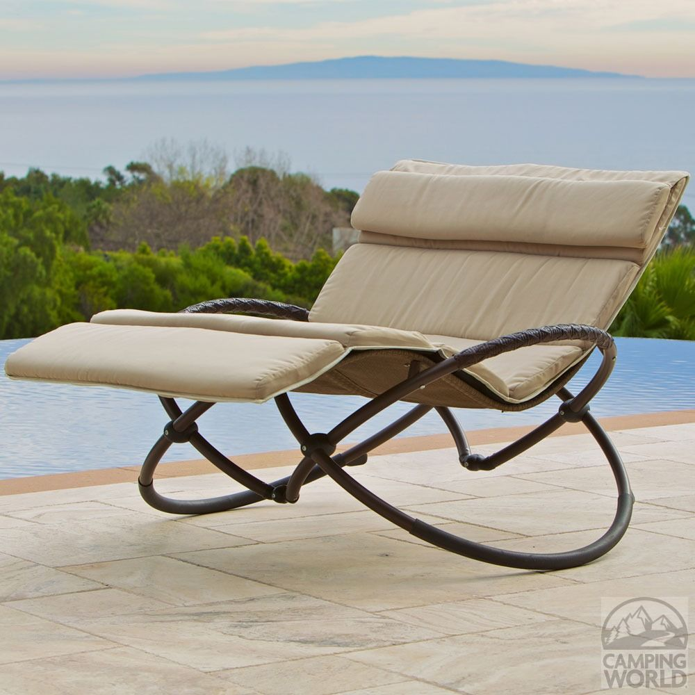 Folding Orbit Zero Gravity Chair Patio Garden Lounger Rocking Relax Outdoor Tan