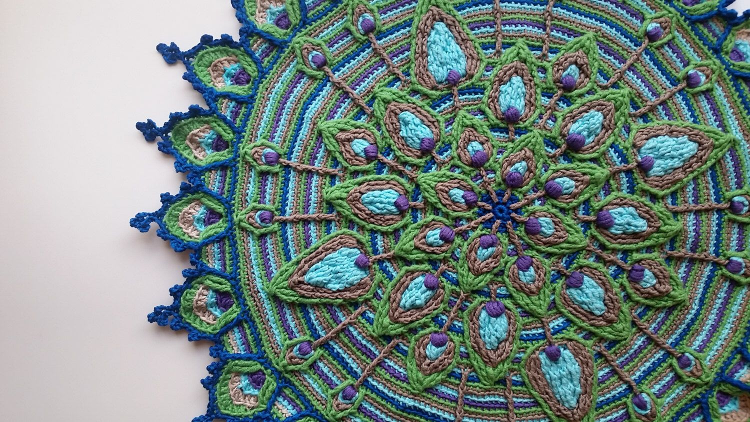Overlay Crochet Peacock Feather Mandala Pattern Crocheted Home
