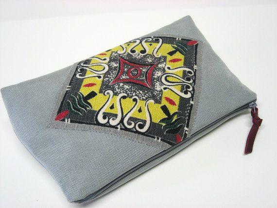 large gray nylon zipper clutch/cosmetic bag by GirlGeniusGoods, $38.00