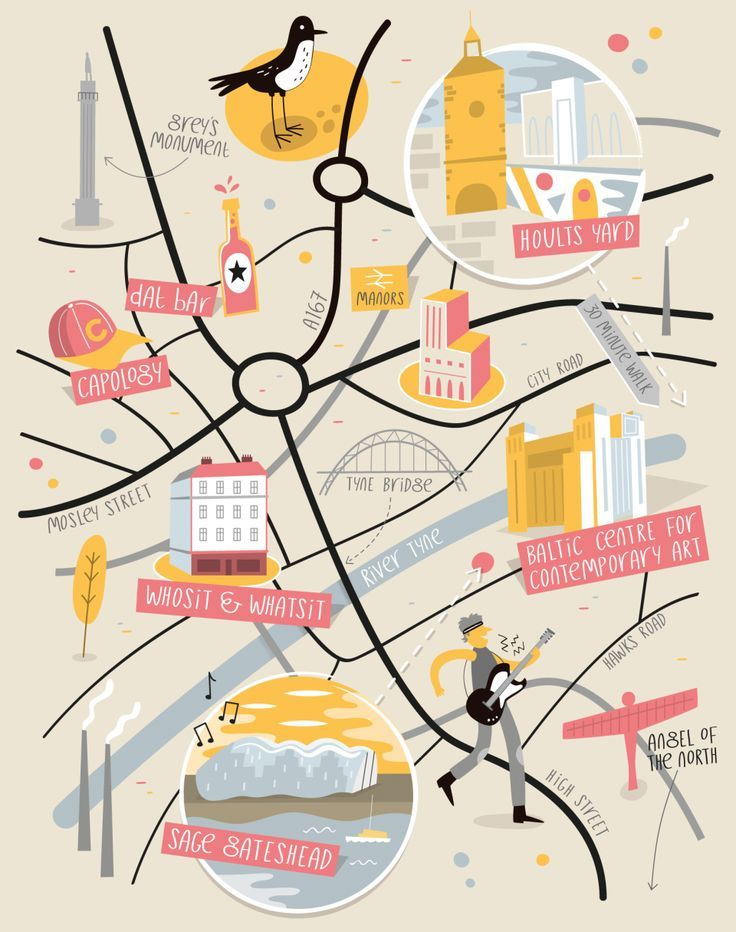 Illustrated map of Newcastle by Tom Woolley Illustrated Maps