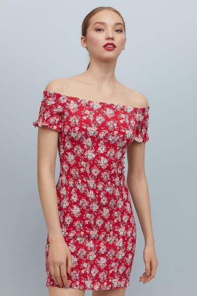 57a4b94b40d Off-the-shoulder dress - Red Floral - Ladies