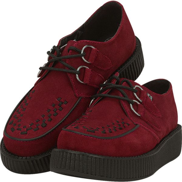 Dark Red Suede Creepers | T.U.K. Shoes