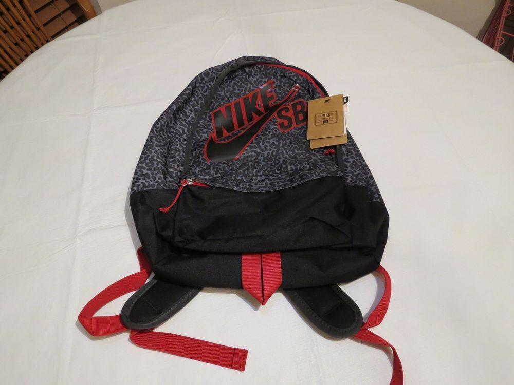 Nike SB Skateboarding Bookbag Backpack Animal Print Black Surf Skate Book Bag