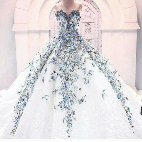 Wedding Dress Floral Peacock Inspired Beautiful