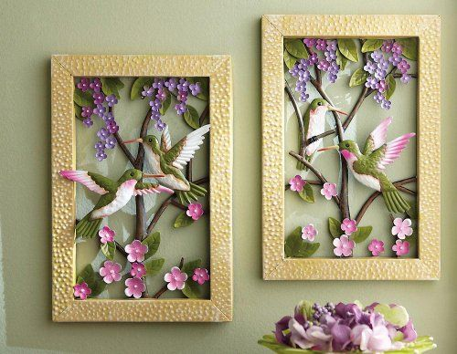 Framed Floral Hummingbird Metal Wall Decor Collections Etc http ...