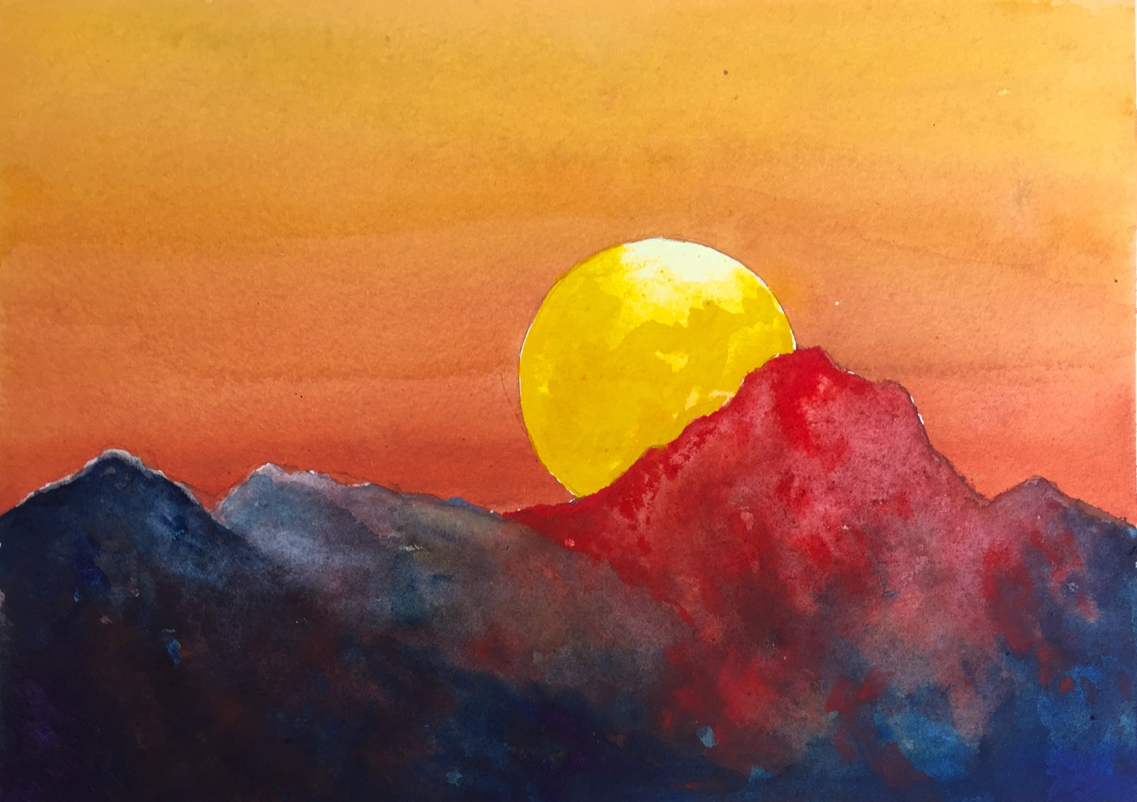 How To Paint A Dramatic Sunset With Watercolor Easy Tutorial Watercolor Paintings For Beginners Watercolor Paintings Easy Watercolor Sunset