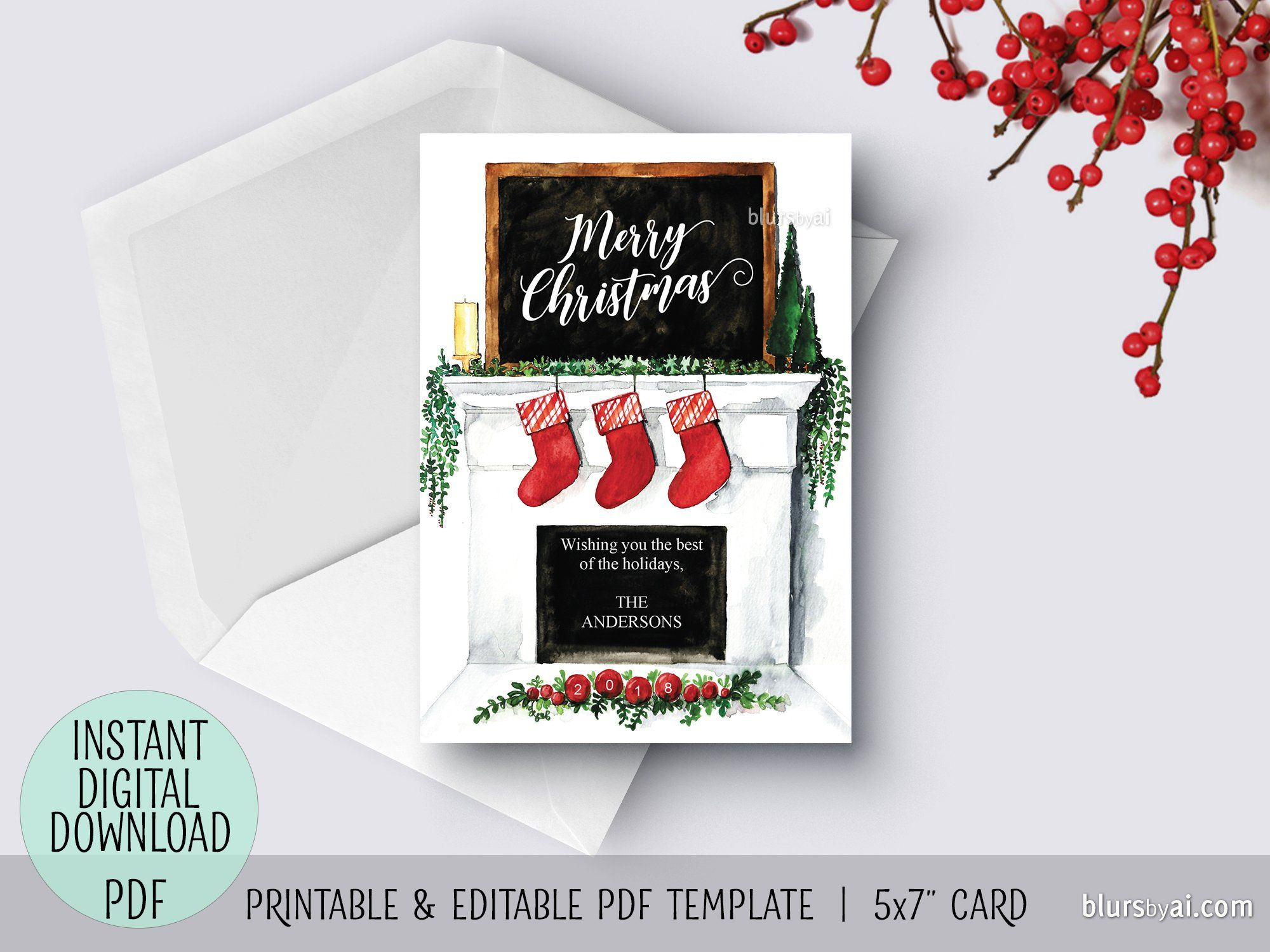 Editable Pdf Christmas Card Template Watercolor Fireplace Mantel Printable And Customizable Christmas Ca Christmas Card Template Christmas Cards Card Template