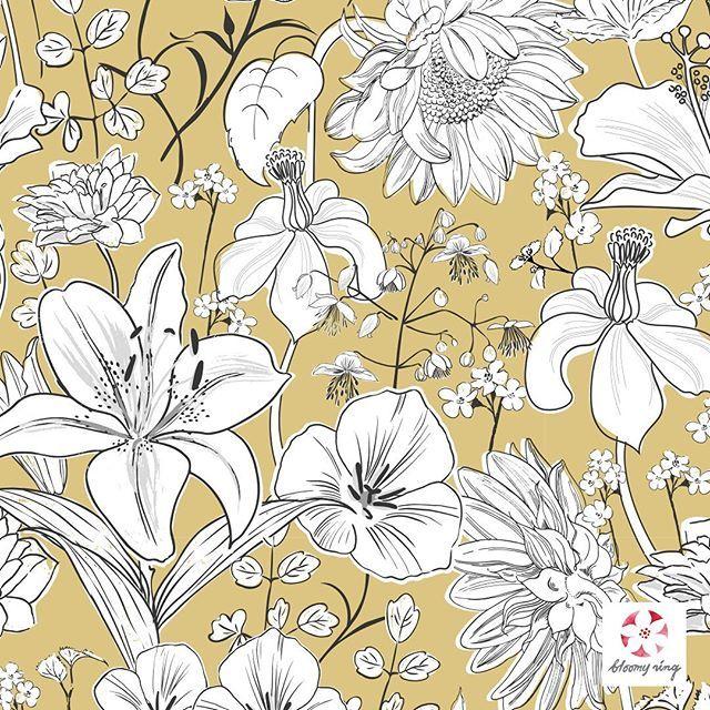Garden flowers pattern available on @patternbank . . . #patternbank #surfacedesigner #pattern #repeatpattern #seamlesspattern…