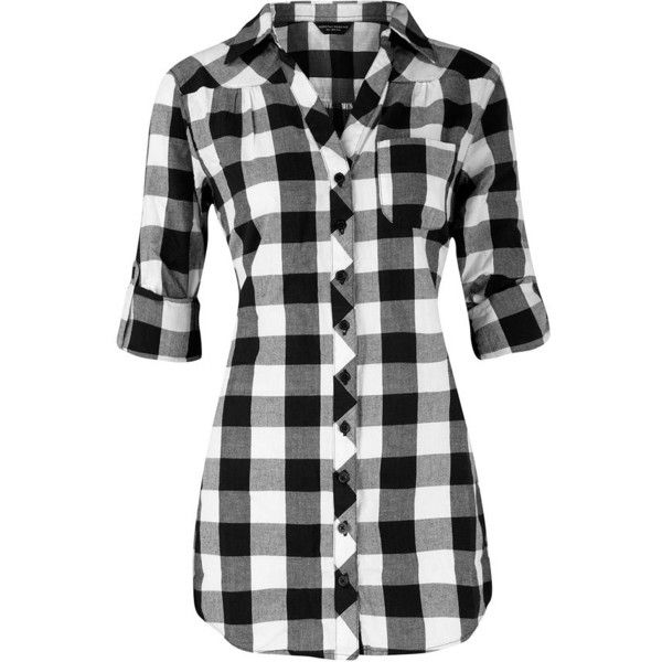 4d3ff714 Black/white check shirt ($31) ❤ liked on Polyvore featuring tops, shirts,  women's clothing, checkered pattern shirt, black white shirt, dorothy  perkins, ...