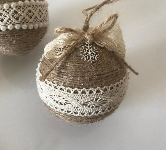 Set von 5 Bindfäden Ornamente für rustikale Weihnachten Dekor Land Land Weihnachten Dekoration Housewarming Geschenk Stern Ornament Bauernhaus Xmas Dekor #howtoputribbononachristmastree