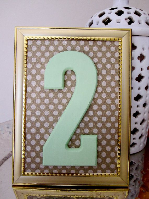 Mint & Gold Wedding Table Numbers with Frame