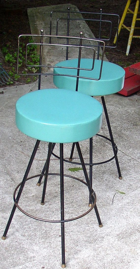 fab mod swivel stools chairs pair turquoise metal retro cool dream house mid century. Black Bedroom Furniture Sets. Home Design Ideas