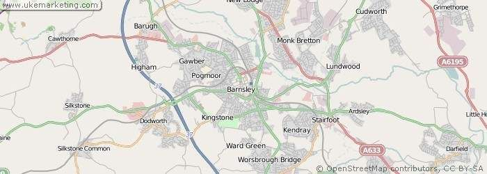 A detailed map of the town of Barnsley in the UK.