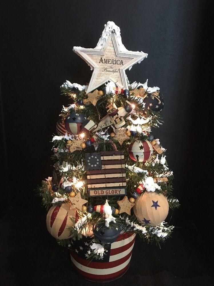 Patriotic Primitive Americana Flag Themed Christmas Holiday Tree 24 Tistheseason Holiday Tree Holiday Christmas Holidays