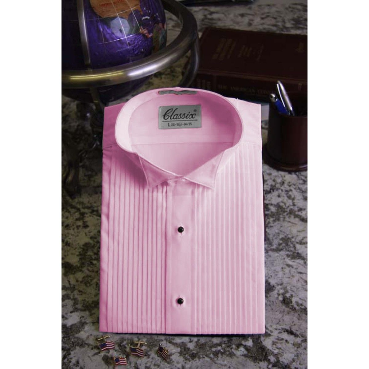 Mens Pink Wing Collar Tuxedo Shirt With 14 Pleats 4 Jrrrbbbittt