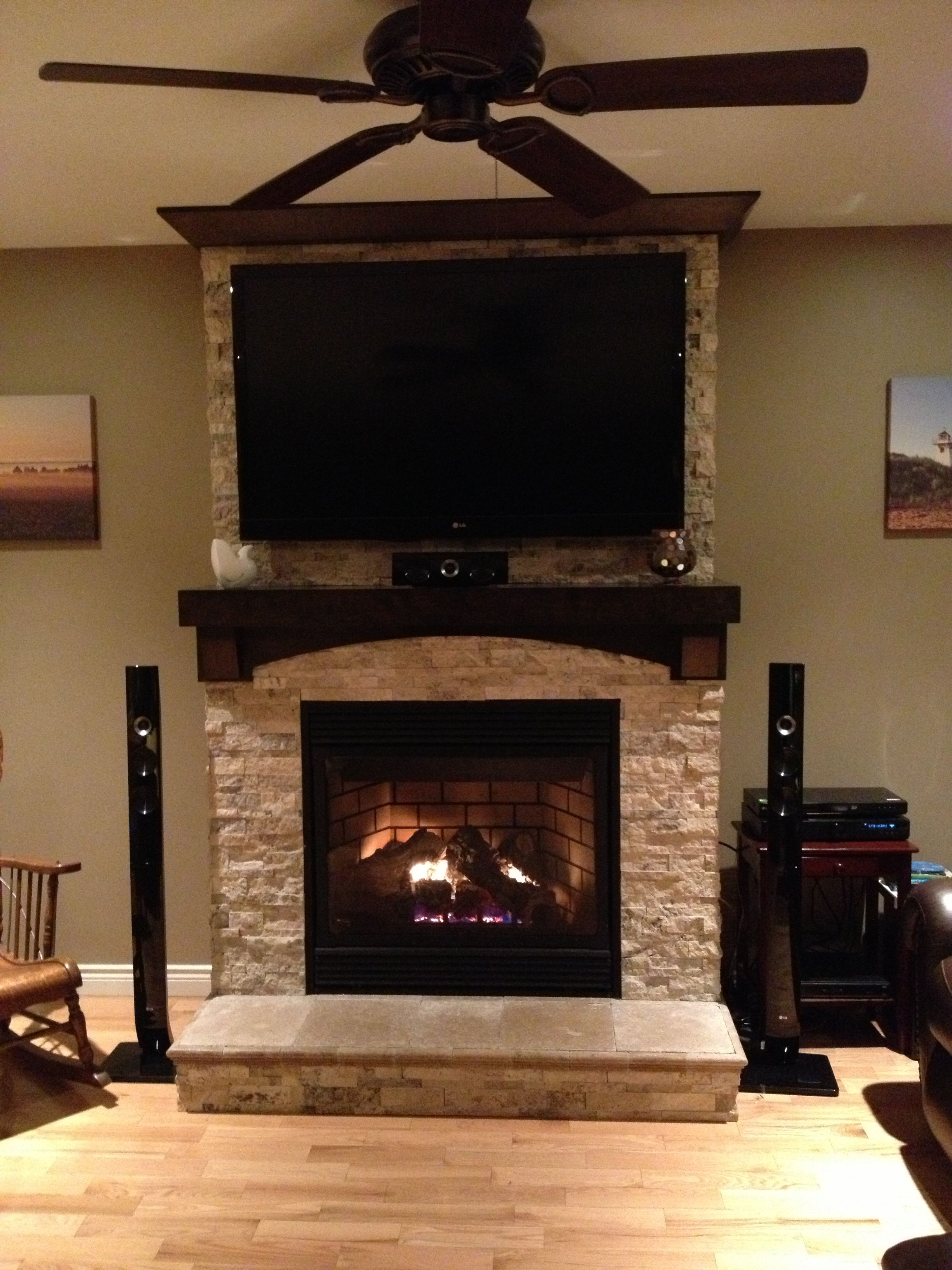 Stone On Fireplace With Tv Mounted Over Mantle Home Fireplace Tv Above Fireplace Fireplace Remodel
