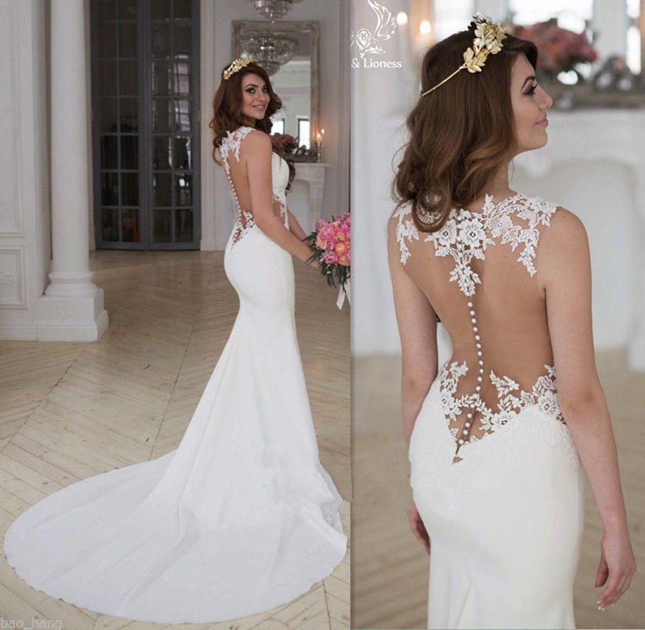 Details zu Sexy Elfenbein Brautkleid Abendkleid Partykleid Spitze ...