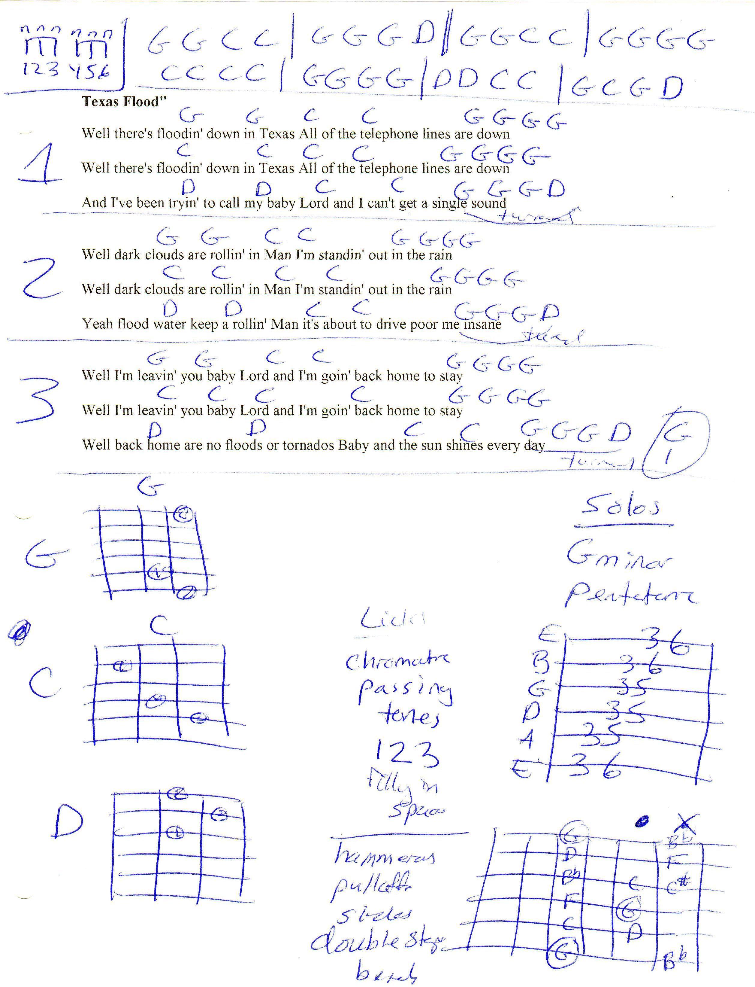 Texas Flood Srv Guitar Chord Chart Guitar Lesson Chord Charts
