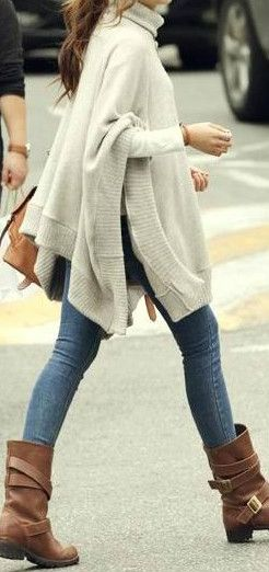 Winter Skies Modern Ivory Knitturtleneck Boho Poncho Sweater Chelsea Verde OS | eBay