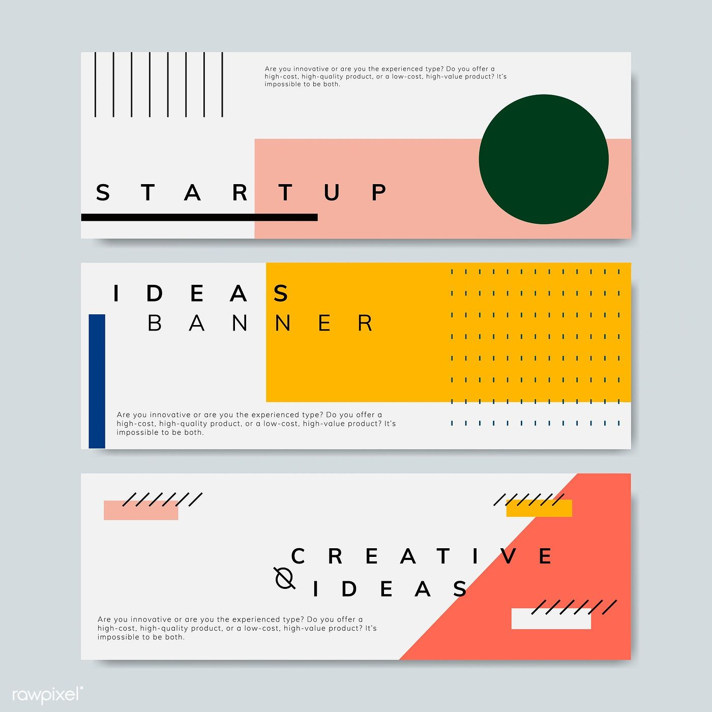 Set of minimal Memphis design start-up banner vector | free image by rawpixel.com / Kappy Kappy #memphisdesign