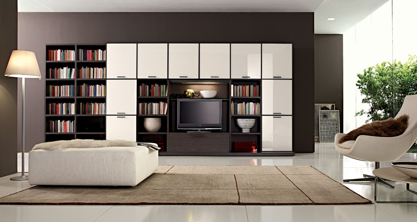Living Room Designs Bookshelf In The Room With Tv Cabinet Brown Color And White Interior Living Room Bookcase Designs And Decorating Ideas