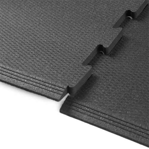 Interlocking Rubber Tile 2x2 Ft X 8 Mm Black Gym Flooring Tiles Gym Flooring Rubber Exercise Flooring