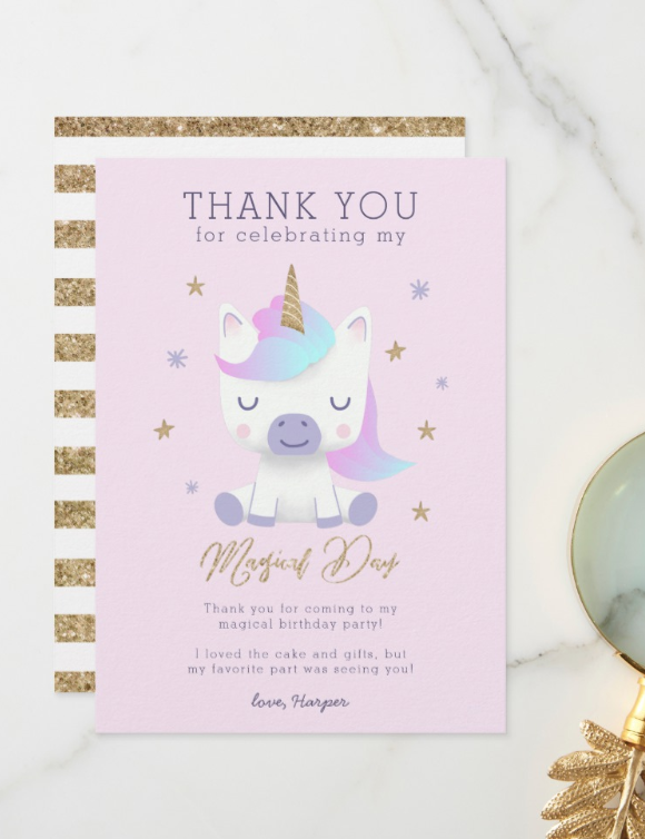 unicorn birthday thank you card  zazzle  birthday