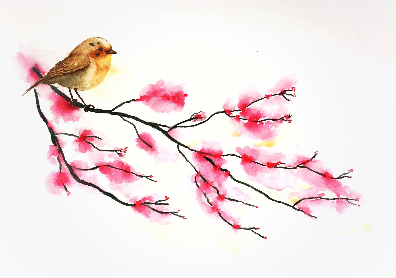 Garden Bird Wall Art Prints Decor Bird On Cherry Blossom Branch