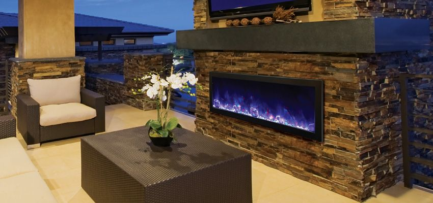 modern outdoor electric fireplace for