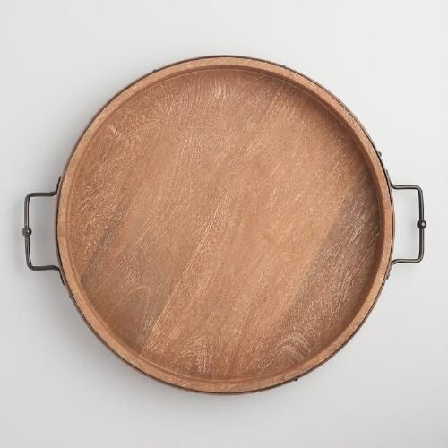 Round Rustic Wood Tray With Iron Handles Wood Tray Iron Handles Serving Tray Wood