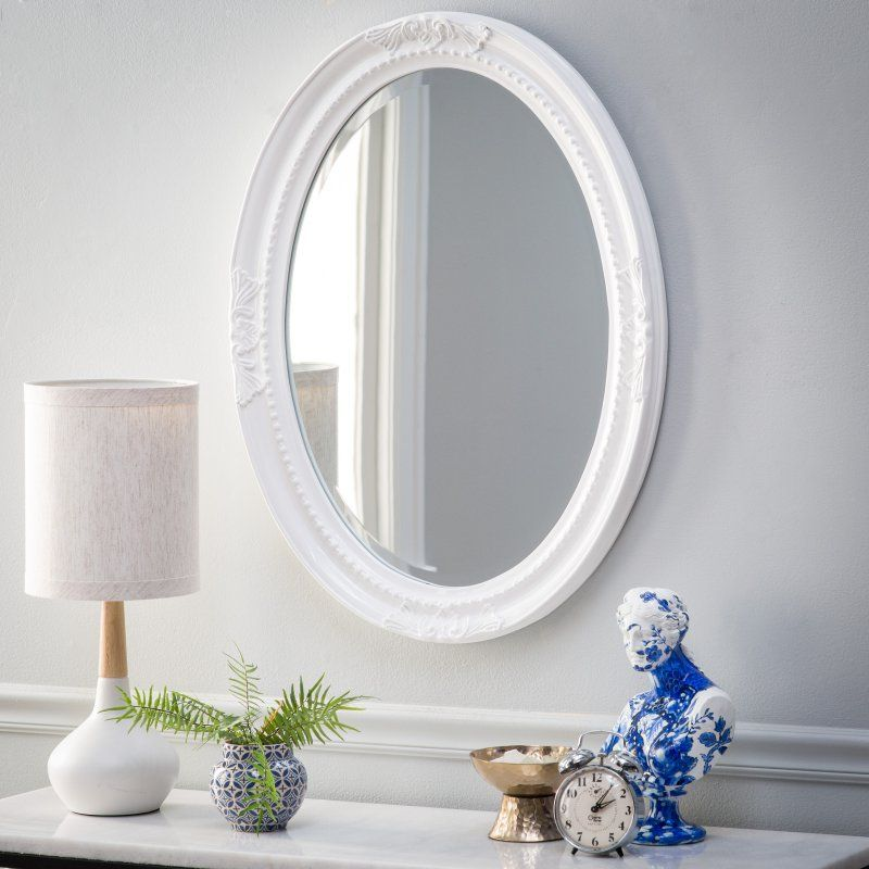 Belham Living Queen Anne Oval Wall Mirror Glossy White 40101