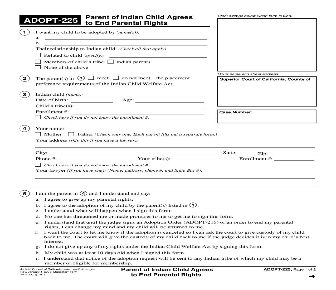 This Is A California Form That Can Be Used For Adoption